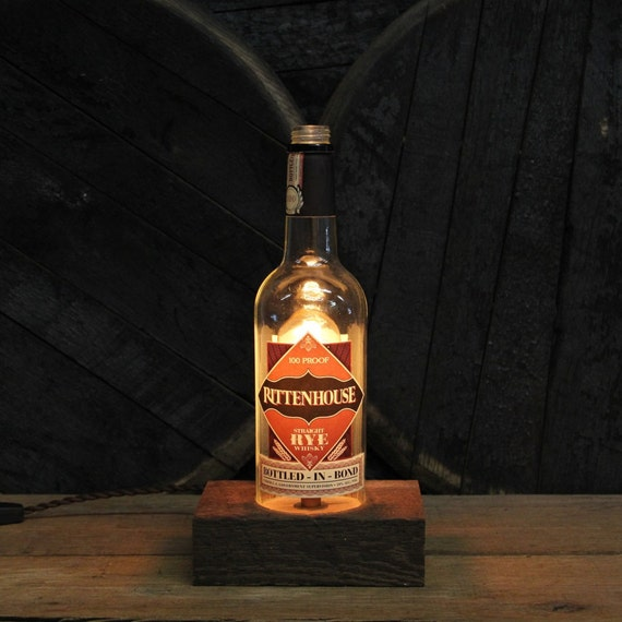 Rittenhouse Whiskey Bottle Lamp, Gift For Him, Bottle Light, Uncle Gift, Perfect Gifts For Guys, Bourbon Gift, Whiskey, Son In Law Gift