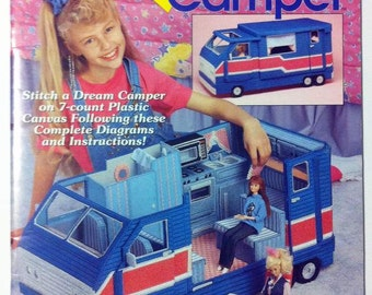 Fashion Doll Dream Camper plastic canvas pattern, fits Barbie Dolls. The Needlecraft Shop 923714.