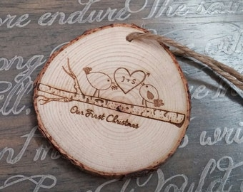 Engraved Christmas Ornament, Personalized Ornaments, Christmas Tree Decoration, Love, Wedding Gift, Christmas Gift, Couples Gift