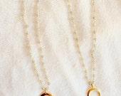 Gemstone choker, beaded choker, choker necklace, labradorite necklace, horn necklace, gold charm necklace, charm choker, short necklace