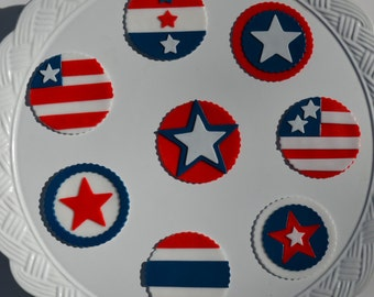 4th of July fondant cupcake toppers, Patriotic Cupcakes