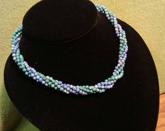 Twisted Blue and Green Stone Bead Necklace