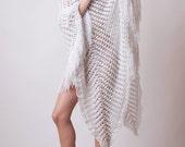 Crochet summer poncho, long fringe cover up, boho white knit, beach poncho, resort crochet dress, OOAK, fashion fringe dress, wedding poncho