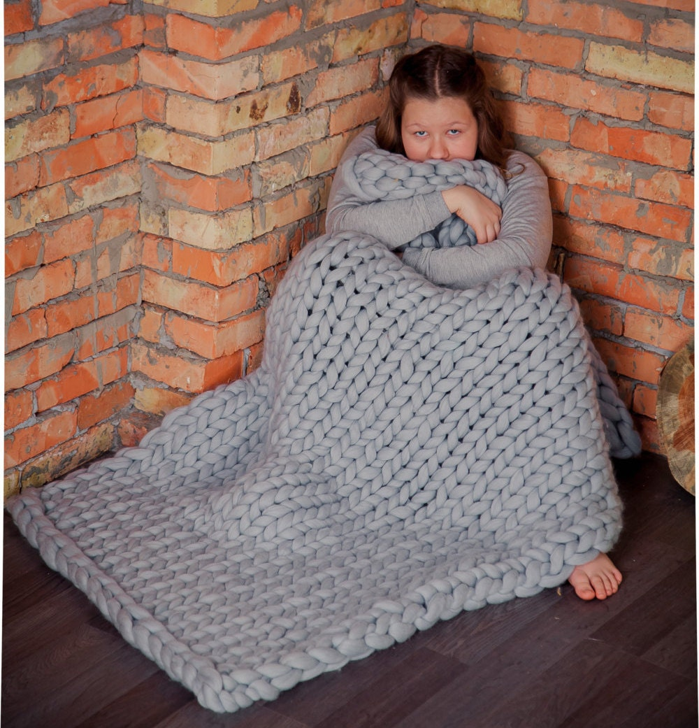 Chunky Knit Blanket Wedding Gift Knitted Throw Home Decor