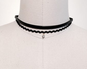 012- 2 piece choker ribbon and leather necklace.