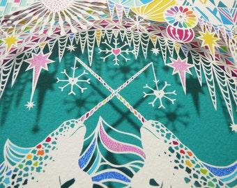 Narwhal Icy Rainbow A4 Papercut Giclee Art Print