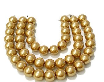 glass pearl beads, 6mm glass beads, pearls, 6mm round beads, 6mm gold beads, 6mm pearls, glass pearls, jewellery supplies, jewelry supplies