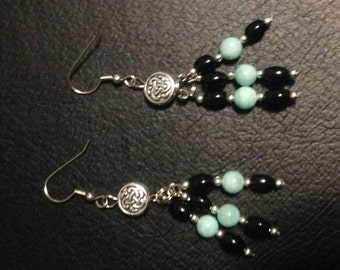 Black Onyx, Amazonite and Metal Charms.