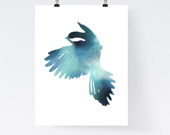 Blue bird art print watercolor, home wall decor, apartment wall art, minimal poster, simple illustration, gift, bird painting, nursery decor
