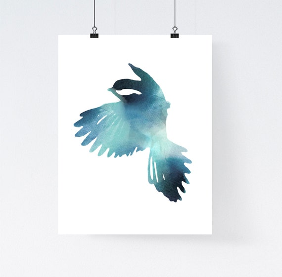 Blue bird art print watercolor home wall decor apartment for Bird decorations for home