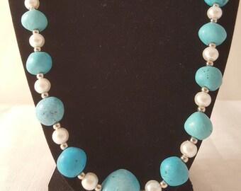 Pale Blue Stone Necklace - Blue Stone Necklace - Blue Necklace - Light Blue Necklace - Pale Blue Necklace - Stone Necklace -Women's Necklace