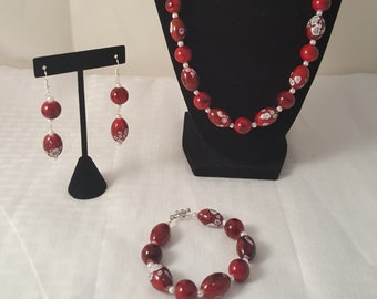 Red Jewelry Set - White Speckled Jewelry Set - Red Bracelet - Red Necklace - Red Earrings - Dangle Earrings - Beaded Necklace - Red Jewelry