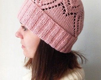Knitted pink hat, womens hat, spring hat, light pink hat, hat with lace bottom, knit hat, hat with cuff