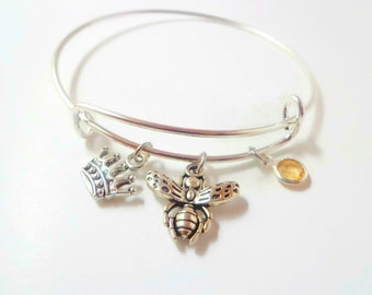 Bee Jewelry, Queen Bee Crown and Bee Birthstone Bracelet , Christmas Gift For Daughter Mom Her, Secret Santa Gift , Stocking Stuffer Gift