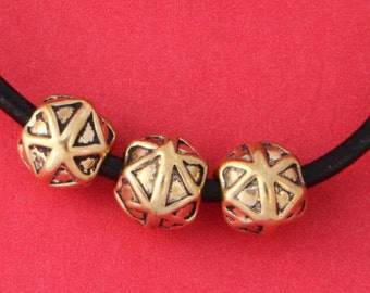 MADE IN EUROPE, 4 gold beads, 10mm gold round bead, gold slider, (B2560AG)Qty4