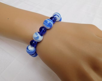 Blue & White Glass Lampwork Beaded Stretch Bracelet, Blue and White Bracelet, Blue Bracelet, Beaded Bracelet