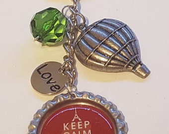 Keep Calm and Travel On BottleCap Keychain