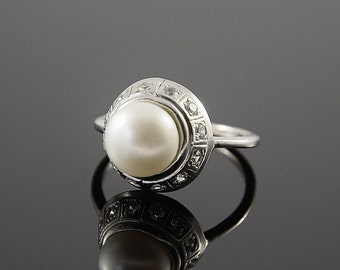 Pearl ring, White pearl ring, Art deco ring, Victorian ring, Silver pearl ring, Unique silver ring, Woman silver ring, Woman pearl ring