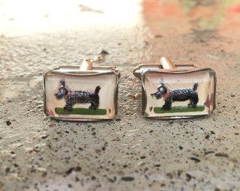 Old Vintage Silver-Tone Lucite Scotty Dog Domed Cuff Links Cufflinks 1974C35