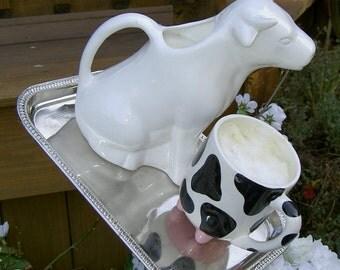 Garden art / Bird feeder - Cow / milk theme
