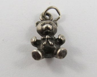 Small Teddy Bear Sterling Silver Charm or Pendant.