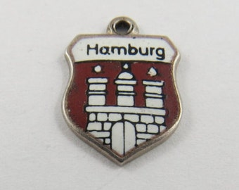 Enameled Hamburg Germany with Castle  .800 Silver Charm or Pendant.