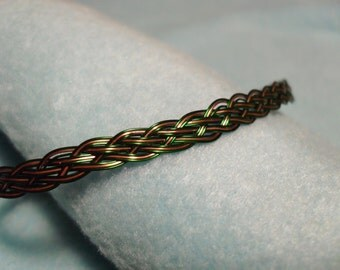 Green and Copper Wire Bracelet