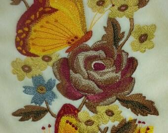 BUTTERFLY & FLOWERS SCARF