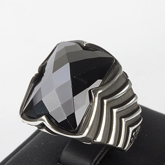 mens gemstone ring black quartz 925 k sterling silver by