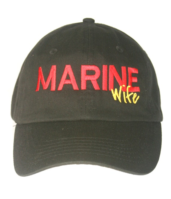 MARINE Wife or MARINE Dad or MARINE Mom - Polo Style Ball Cap (Black with Red and Gold Stitching)