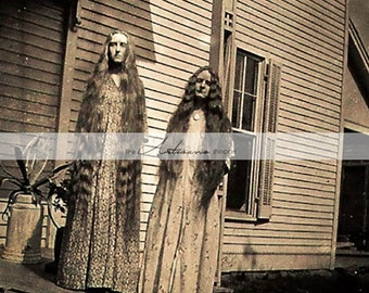 Haunting Two Girls with Long Hair Antique Photograph - Digital Download Printable - Paper Crafts Scrapbook Altered Art - Creepy Photography