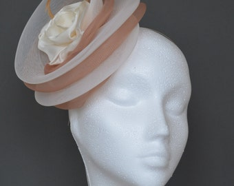Ivory and beige, natural, champagne flower feather fascinator. Ivory wedding fascinator. Ivory Ascot hat. Derby hat. Garden party hat.