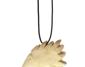 wood Porcupine pendant