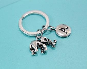 Elephant Keychain, Elephant  Keyring, Lucky Elephant Keychain, Personalized Keychain, Initial Keychain, Initial Charm, Monogram