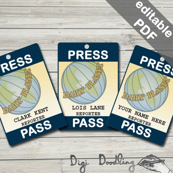 Daily planet press pass lois lane clark kent costume for Media pass template