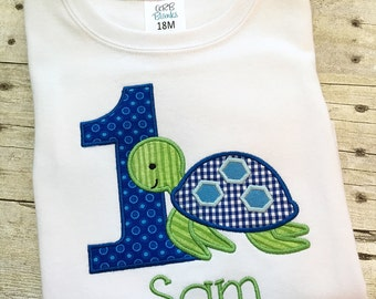 Turtle Birthday shirt - Sea Turtle Birthday - First birthday shirt for boys - Boy 1st birthday outfit - Sea Turtle outfit - cake smash shirt