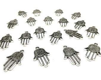 10 Antique Silver Hamsa Charms/Pendants (lead and nickel free)