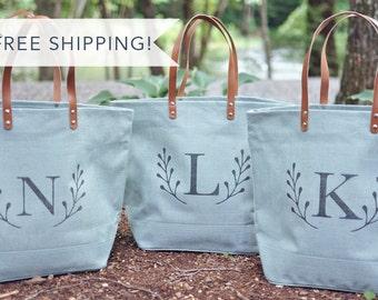 Set of Light Blue Burlap Bridesmaid Tote Bags | Bridesmaids Gift | Personalized Tote | Unique Ideas for Bridesmaids  Destination Wedding Bag