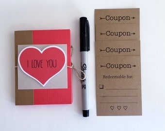 Boyfriend Gift, Mini Coupon Book, Love Coupon Book, Valentines Coupon Book, Birthday Gift, Husband Gift, Gift for Him, 4x3 Coupon Book