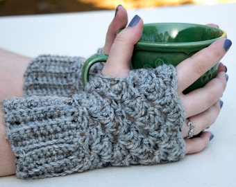 Gray Fingerless Mittens - Crochet Wrist Warmers - Knit Mittens without Fingers - Winter Accessory Gift - Teen Gift - Made in USA