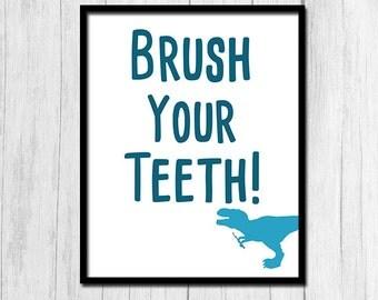 Bathroom Signs Brush Your Teeth blue bathroom art | etsy
