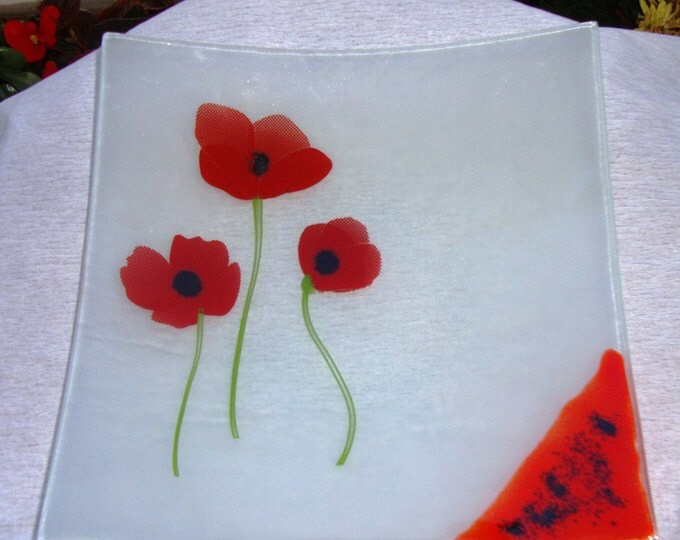 Vintage 90's Poppies Handmade Fused Glass Plate, Serving Platter, Decorative Plate, Fused Glass Dish, Fused Glass Tray