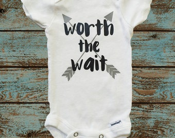 Worth the Wait Onesie with Gray Arrows