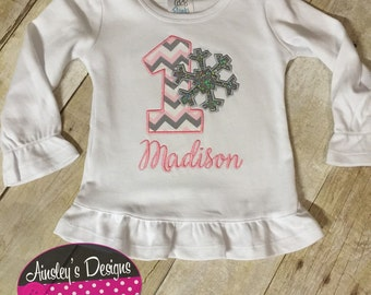 First birthday snowflake onesie! Personalized with a name and glittery snowflake!