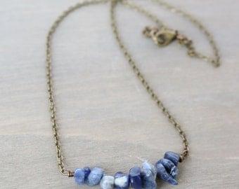 Sodalite Gemstone Necklace - Bronze, Simple, Layered Neclace, Boho Necklace, Denim Color, Blue, Navy, White