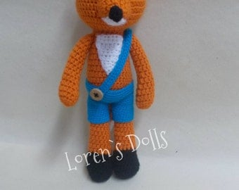 Little Fox Crochet toy foxes Crochet Animal Fox Plush Little Fox Crochet blue pants stuffed fox baby rattle Gift for kids foxy MADE TO ORDER