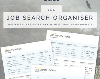 Job Search Planner | Job Search Organiser | 3 Printable Planners (Letter, A4, A5) | Instant Download | BONUS Excel Spreadsheets Included