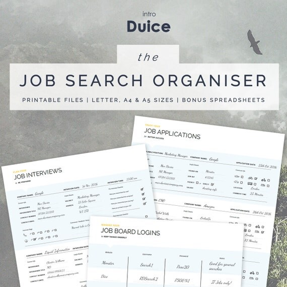 Friendly Find For Your Job Search: Job Search Planner Job Search Organiser 3 Printable