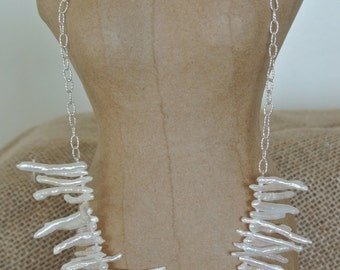 BIWA Stick Pearls & Sterling Silver chain Necklace