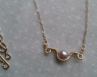 gold necklace , freswater pearl necklace , wire wrapped  jewelry , handmade jewelry